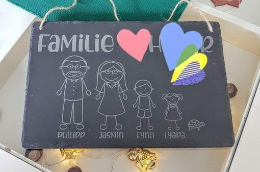 Dekoschild / Türschild / Familienschild aus Schiefer 30x20cm