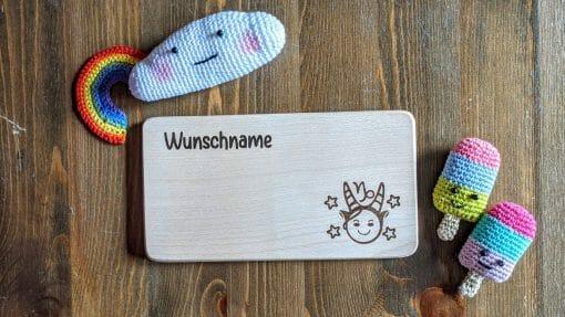 Frühstücksbrettchen / Kinderbrett aus Holz / Sternzeichen Steinbock / graviert und personalisiert
