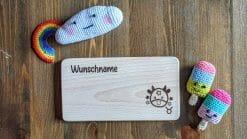Frühstücksbrettchen / Kinderbrett aus Holz / Sternzeichen Stier / graviert und personalisiert