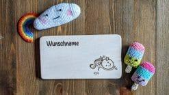 Frühstücksbrettchen / Kinderbrett aus Holz / Sternzeichen Wassermann / graviert und personalisiert