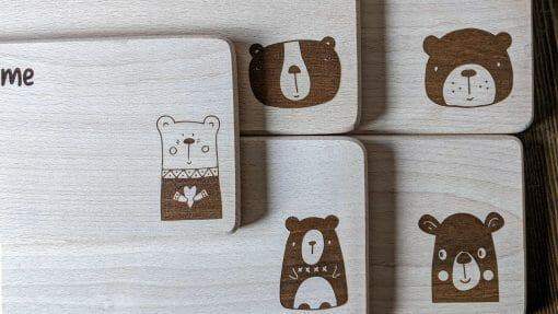Frühstücksbretter / Kinderbretter aus Holz / Tiere Bären / graviert und personalisiert