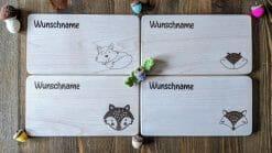 Frühstücksbretter / Kinderbretter aus Holz / Tiere Füchse / graviert und personalisiert